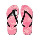 Pink Camo and Dog Tags Flip Flops