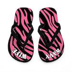 Zebra Print Navy Wife Flip Flops