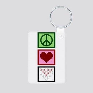 Peace Love Bowling Aluminum Photo Keychain