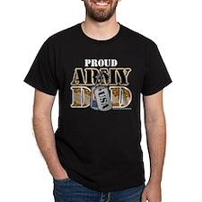 Proud Army Dad Dog Tag Dark T-Shirt