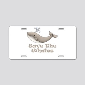 Save The Whales Aluminum License Plate