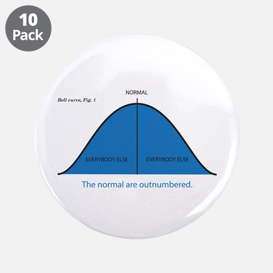 """Normal bell curve 3.5"""" Button (10 pack)"""