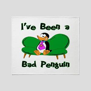 Bad Penguin Throw Blanket