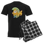 Funny Yellow Tropical Fish Men's Dark Pajamas