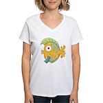 Funny Yellow Tropical Fish Women's V-Neck T-Shirt