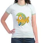 Funny Yellow Tropical Fish Jr. Ringer T-Shirt