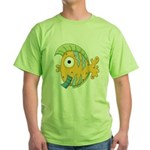 Funny Yellow Tropical Fish Green T-Shirt