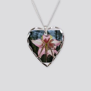 Pink Columbine Necklace Heart Charm