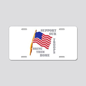 Support Our Troops Bring Them Aluminum License Pla