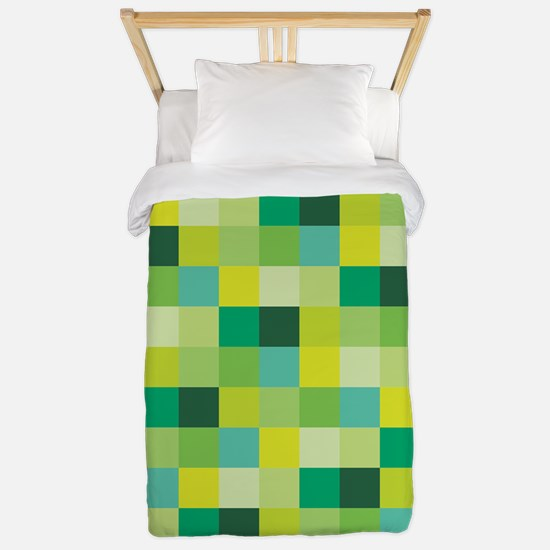 Green Pixelated Pattern | Gamer Twin Duvet Cover