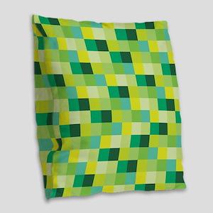 Green Pixelated Pattern | Game Burlap Throw Pillow