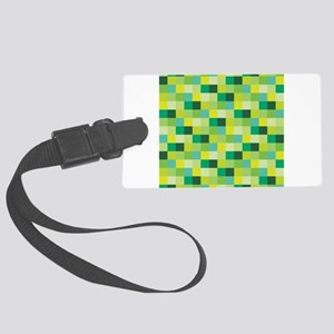Green Pixelated Pattern | Gamer Large Luggage Tag