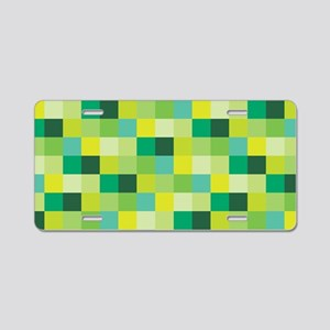 Green Pixelated Pattern | G Aluminum License Plate