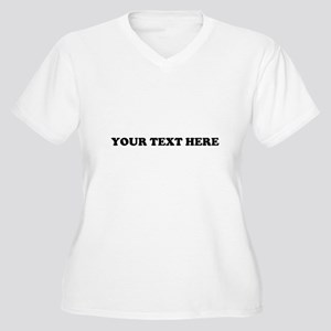 Custom Text Women's Plus Size V-Neck T-Shirt