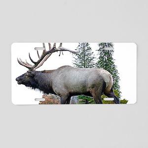 Bull Elk Aluminum License Plate