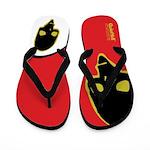 Punk Skull (Wild, Blk/Ylw on Red/Wht) Flip Flops