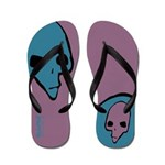 Punk Skull (Bold, Blue on Purple) Flip Flops
