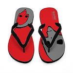Punk Skull (Bold, Gray on Red) Flip Flops