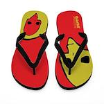 Punk Skull (Bold, Yellow on Red) Flip Flops