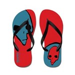 Punk Skull (Bold, Blue on Red) Flip Flops