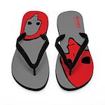 Punk Skull (Bold, Red on Gray) Flip Flops