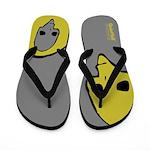 Punk Skull (Bold, Yellow on Gray) Flip Flops