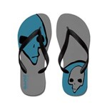 Punk Skull (Bold, Blue on Gray) Flip Flops