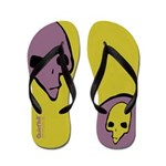 Punk Skull (Bold, Purple on Yellow) Flip Flops