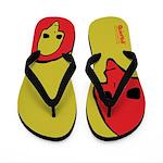 Punk Skull (Bold, Red on Yellow) Flip Flops