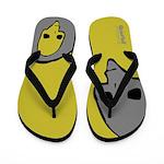 Punk Skull (Bold, Gray on Yellow) Flip Flops