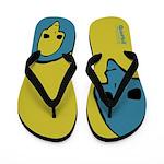 Punk Skull (Bold, Blue on Yellow) Flip Flops