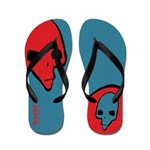 Punk Skull (Bold, Red on Blue) Flip Flops