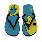 Punk Skull (Bold, Yellow on Blue) Flip Flops