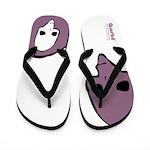 Punk Skull (Bold, Purple on White) Flip Flops