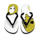 Punk Skull (Bold, Yellow on White) Flip Flops