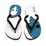 Punk Skull (Bold, Blue on White) Flip Flops