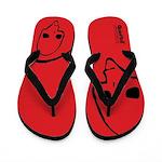 Punk Skull (Basic, Black on Red) Flip Flops
