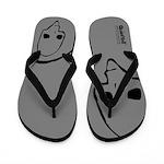 Punk Skull (Basic, Black on Gray) Flip Flops