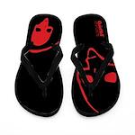 Punk Skull (Basic, Red on Black) Flip Flops