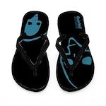 Punk Skull (Basic, Blue on Black) Flip Flops