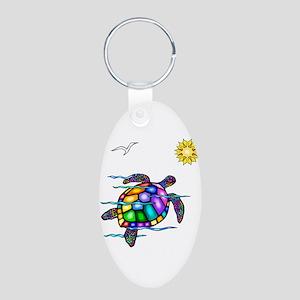 Sea Turtle #1 Aluminum Oval Keychain