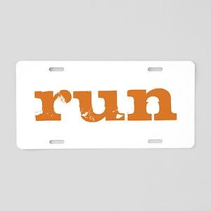 run - burnt orange Aluminum License Plate