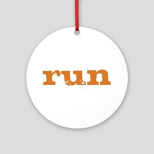 run - burnt orange Ornament (Round)