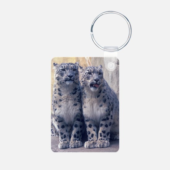 Twin Snow Leopard Cubs Keychains
