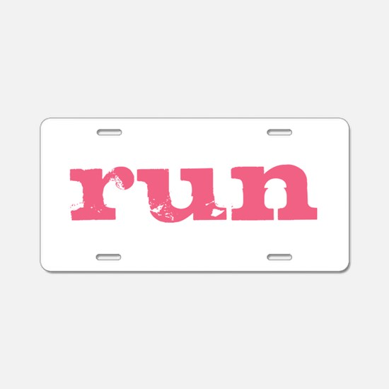 run - pink Aluminum License Plate