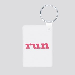 run - pink Aluminum Photo Keychain