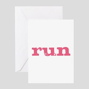 run - pink Greeting Card