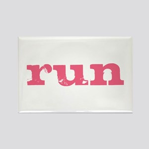 run - pink Rectangle Magnet