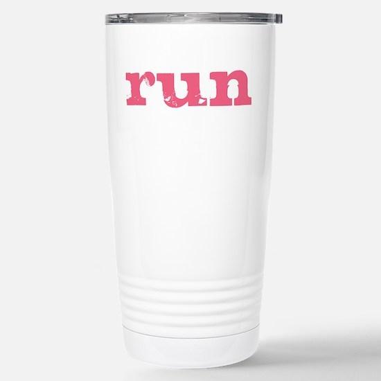 run - pink Stainless Steel Travel Mug