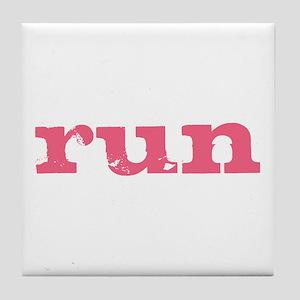 run - pink Tile Coaster
